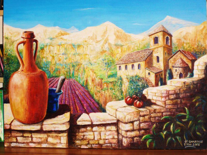 paysage de provence at artiste peintre fresques trompe l 39 oeil dans l 39 yonne 89. Black Bedroom Furniture Sets. Home Design Ideas