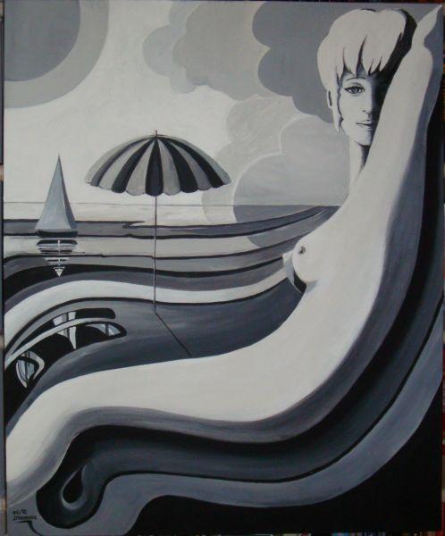 tableau contemporain en noir et blanc d'inspiration marine ...