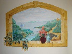 Fresque en tompe l'oeil dans chambre à coucher dans Décoration DSC01452-300x225