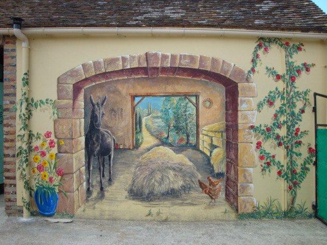 Trompe l oeil sur mur de grange at artiste peintre fresques trompe l 39 o - Decoration trompe l oeil ...